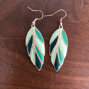 Gold and green leaf earrings